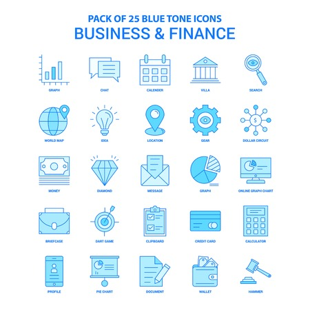 Business and Finance Blue Tone Icon Pack - 25 Icon Sets Stock Illustratie