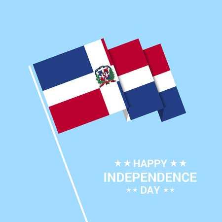 Typografisches Design zum Unabhängigkeitstag der Dominikanischen Republik mit Flaggenvektor