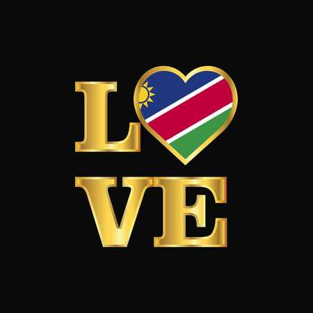 Love typography Namibia flag design vector Gold lettering