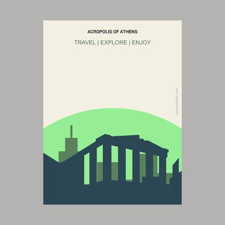 Acropolis of Athens , Greece Vintage Style Landmark Poster Template