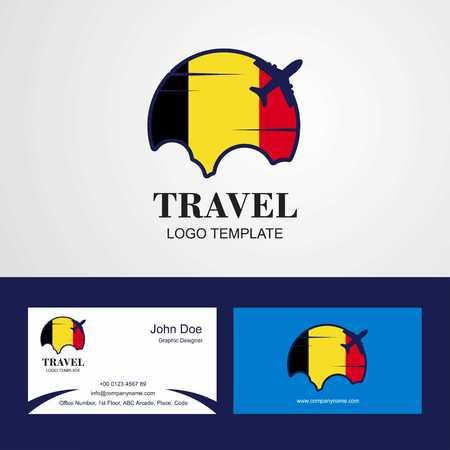 Travel Belgium Flag Logo and Visiting Card Design
