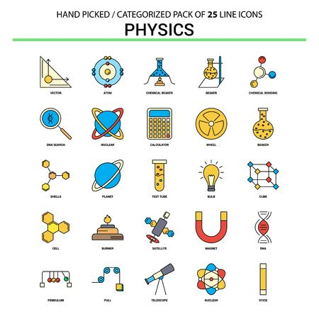 Physics Flat Line Icon Set - Business Concept Icons Design