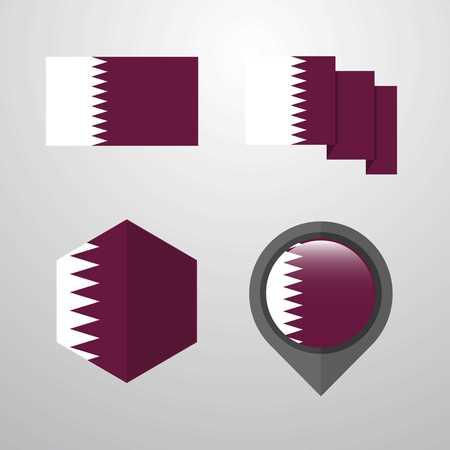 Qatar flag design set vector