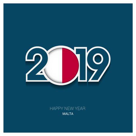2019 Malta Typography, Happy New Year Background
