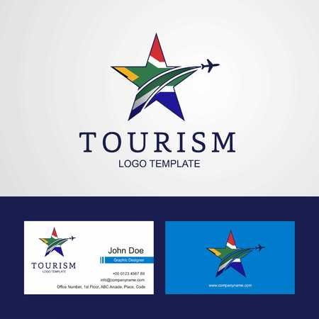 Travel South Africa flag Creative Star Logo and Business card design