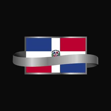 Dominican Republic flag Ribbon banner design