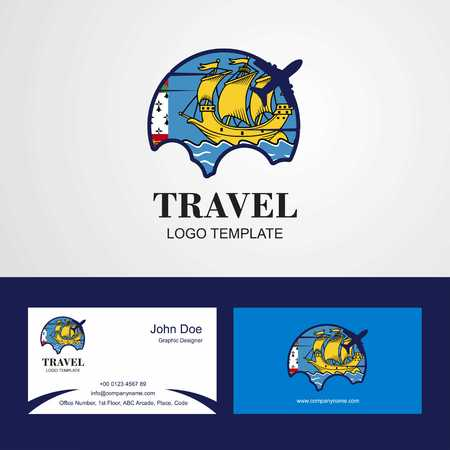Travel Saint Pierre and Miquelon Flag Logo and Visiting Card Design Illustration