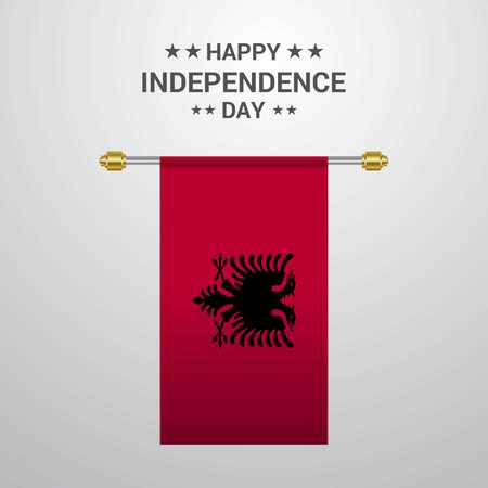 Albania Independence day hanging flag background