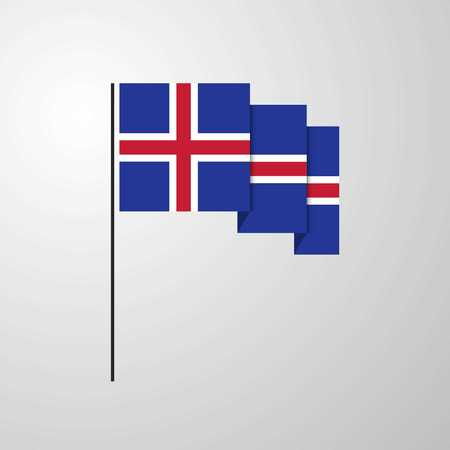 Iceland waving Flag creative background Ilustração