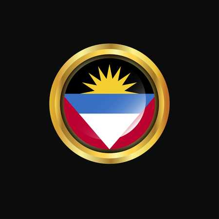 Antigua and Barbuda flag Golden button