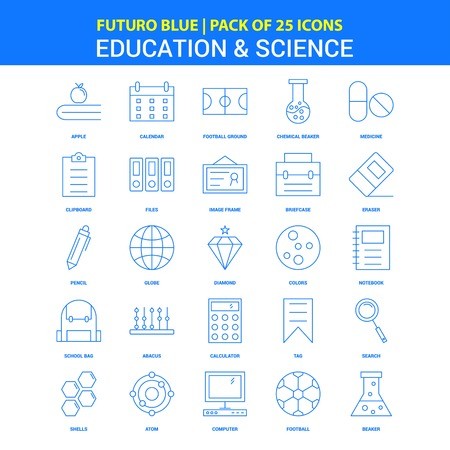 Education and Science Icons - Futuro Blue 25 Icon pack