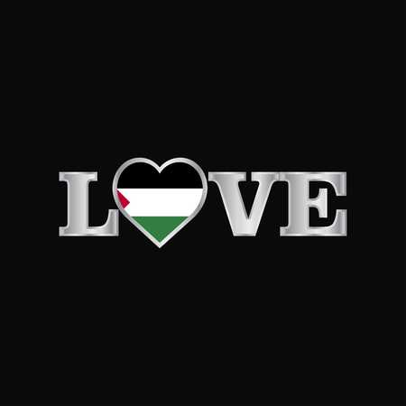 Love typography with Palestine flag design vector