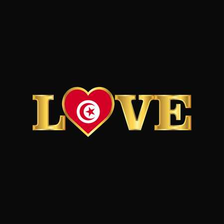 Golden Love typography Tunisia flag design vector
