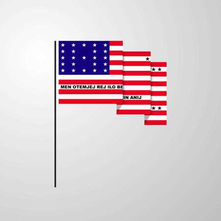 Bikini Atoll waving Flag creative background