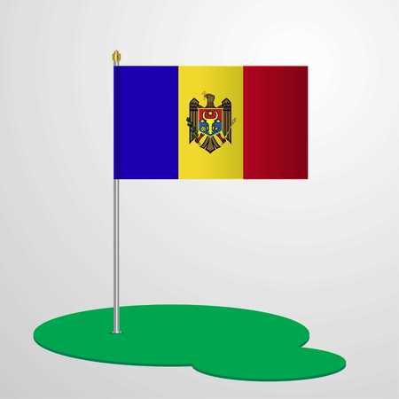 Moldova Flag Pole Vektorové ilustrace