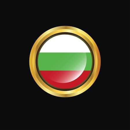 Bulgaria flag Golden button Ilustrace