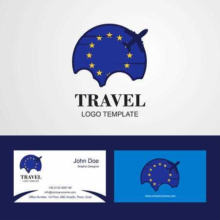 Travel European Union Flag Logo and Visiting Card Design