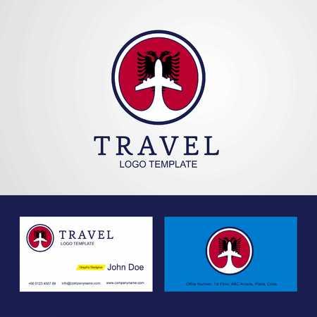 Travel Albania Creative Circle flag Logo and Business card design