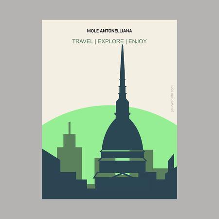 Mole Antonelliana, Italy Vintage Style Landmark Poster Template Vector Illustration