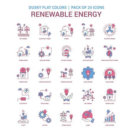 Renewable Energy icon Dusky Flat color - Vintage 25 Icon Pack Standard-Bild - 118295862