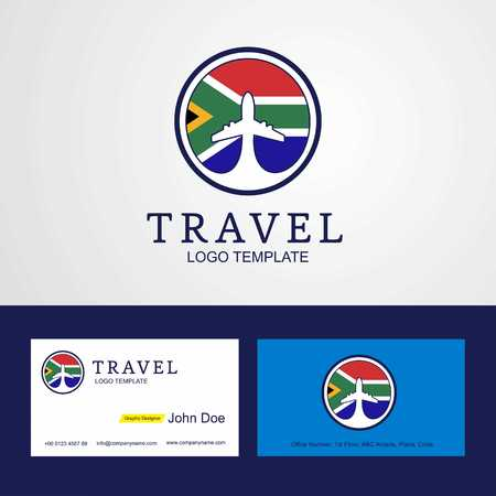Travel South Africa Creative Circle flag Logo and Business card design Illustration
