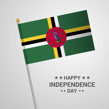 Dominica Independence day typographic design with flag vector
