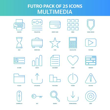 25 Green and Blue Futuro Multimedia Icon Pack