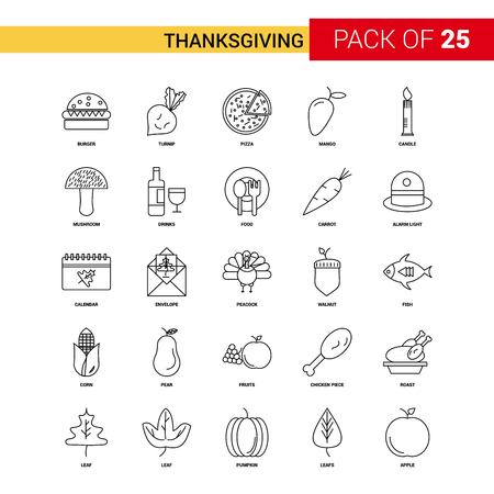 Thanksgiving  Black Line Icon - 25 Business Outline Icon Set