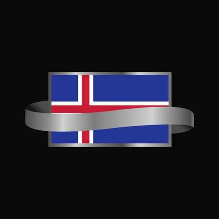 Iceland flag Ribbon banner design Ilustração