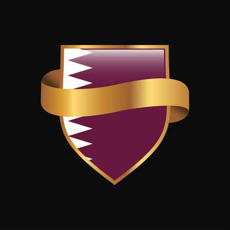 Qatar flag Golden badge design vector