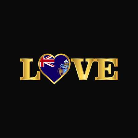 Golden Love typography Tristan da Cunha flag design vector