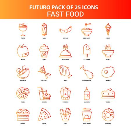 Orange Futuro 25 Fast food Icon Set