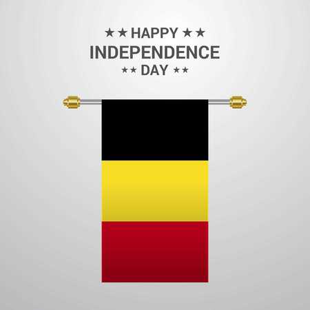 Belgium Independence day hanging flag background