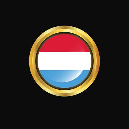 Luxembourg flag Golden button