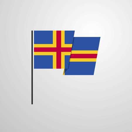 Vector de diseño de bandera ondeando aland Ilustración de vector