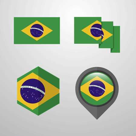 Brazil flag design set vector Vetores
