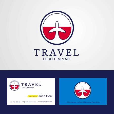 Travel Poland Creative Circle flag Logo and Business card design