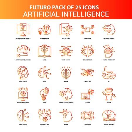 Orange Futuro 25 Artificial Intelligence Icon Set