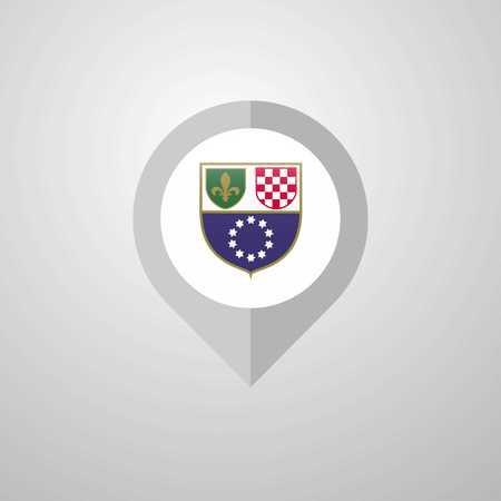 Map Navigation pointer with Bosnia and Herzegovina flag design vector