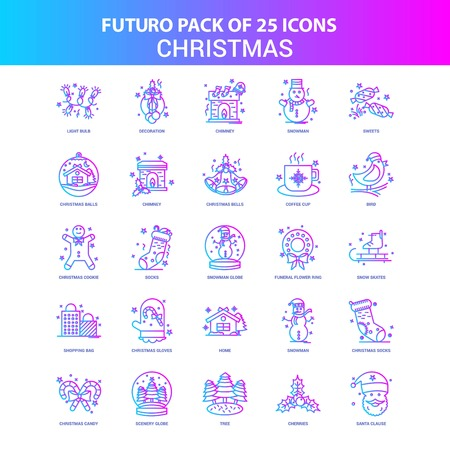 25 Blue and Pink Futuro Christmas Icon Pack Vector Illustration