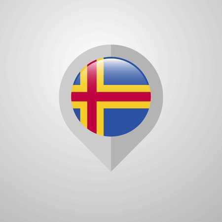 Puntero de navegación del mapa con el vector de diseño de la bandera de Aland