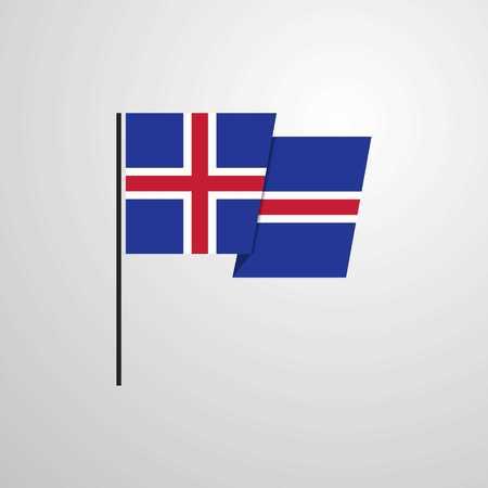 Iceland waving Flag design vector Ilustração