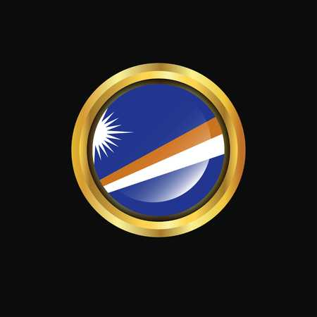 Marshall Islands flag Golden button Çizim