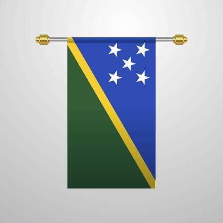 Solomon Islands hanging Flag Çizim