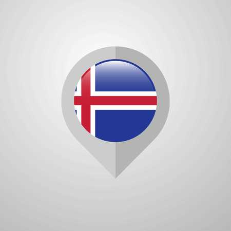 Map Navigation pointer with Iceland flag design vector