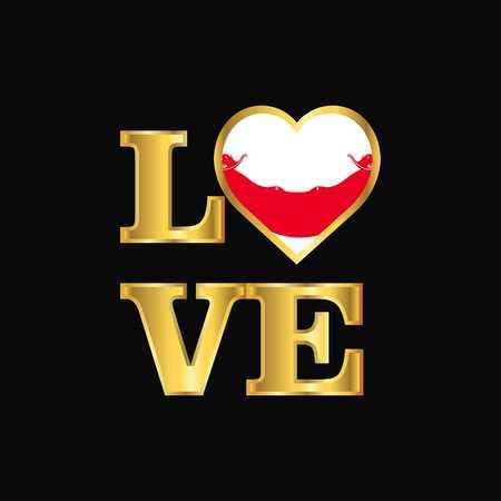 Love typography Ecuador flag design vector Gold lettering