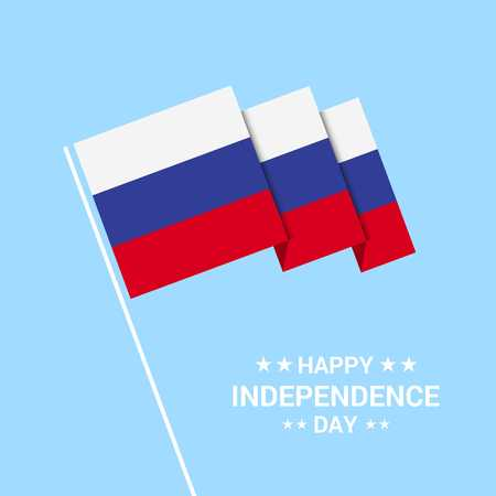 Russia Independence day typographic design with flag vector