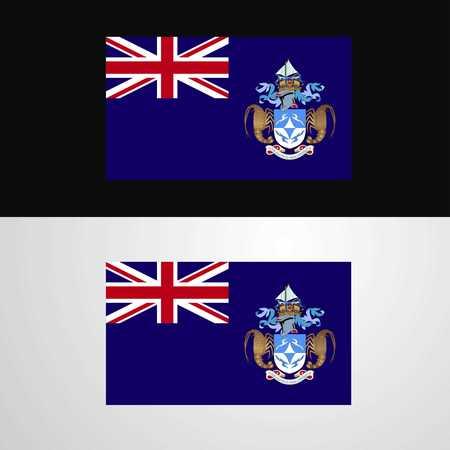 Tristan da Cunha Flag banner design Illustration