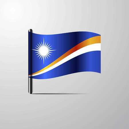 Marshall Islands waving Shiny Flag design vector