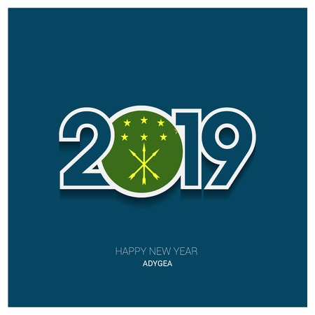 2019 Adygea Typography, Happy New Year Background